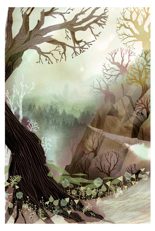 Comic Book ink forest fantastic folk fairy tale watercolor