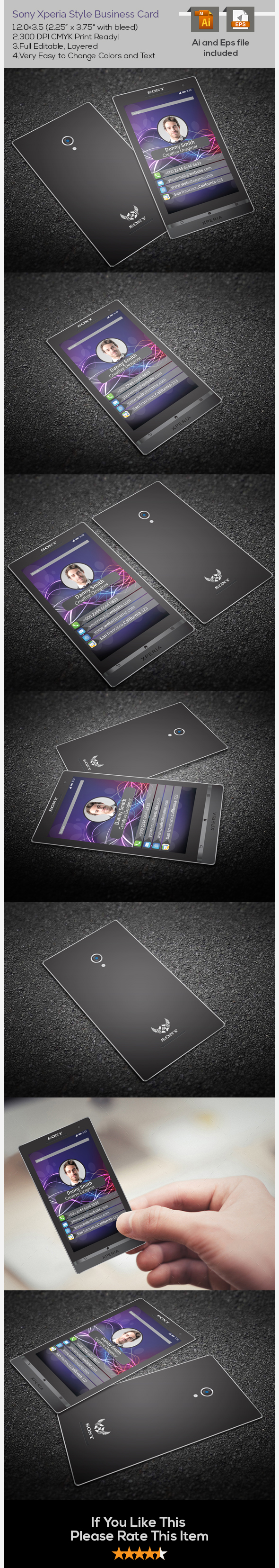 Sony Xperia Style Business Card on Behance
