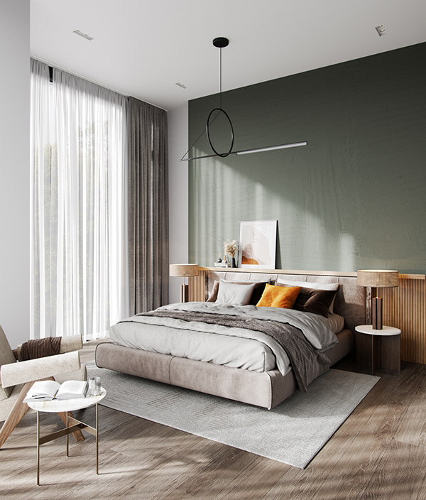 White and wood apartment in Germany