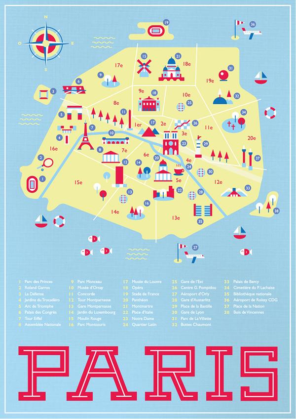 Roland Garros Location In Paris Map.Map Of Paris On Behance