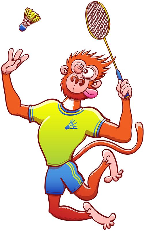 Talented monkey preparing a smash in a badminton match