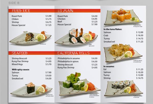 tri fold sushi menu template on behance
