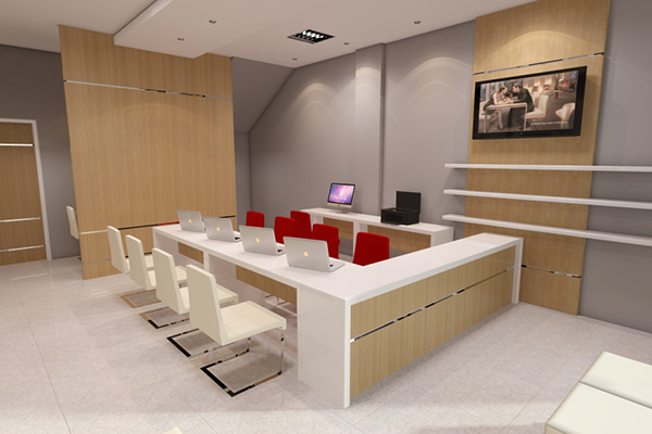 Travel agent service office on behance for Office interior decoration services