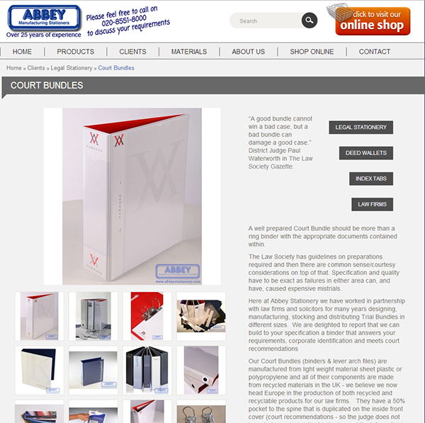 Opencart Info Page Galleries - Abbey Stationery on Behance