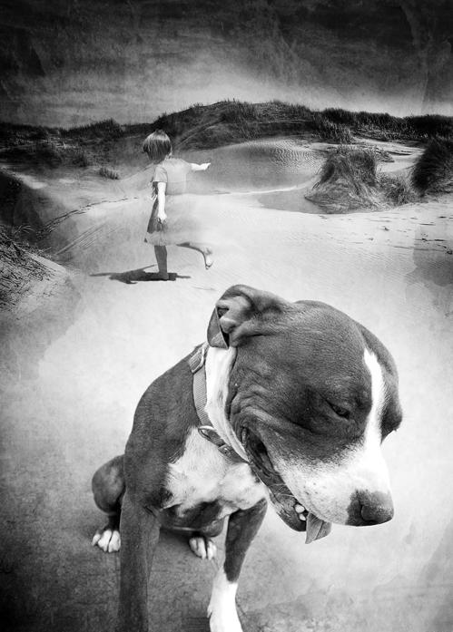 dog girl dunes photo-illustration black & white
