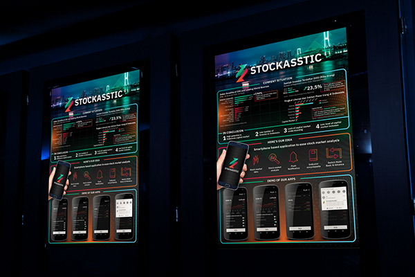 A brochure or flyer design that promotes what Stockasstic is, the statistics and data, and its features