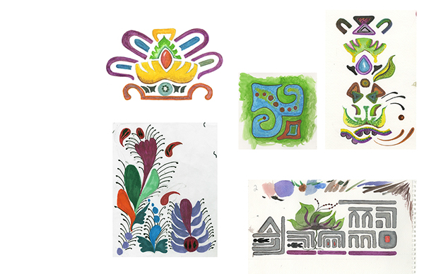 Color and materials mexico yellow Ethnic Retro repeat patterns death color palette sketches logos