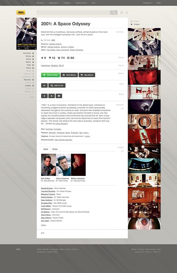imdb database corporate Interface clean White