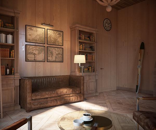 Chalet iv interior in golf club district zavidovo on behance