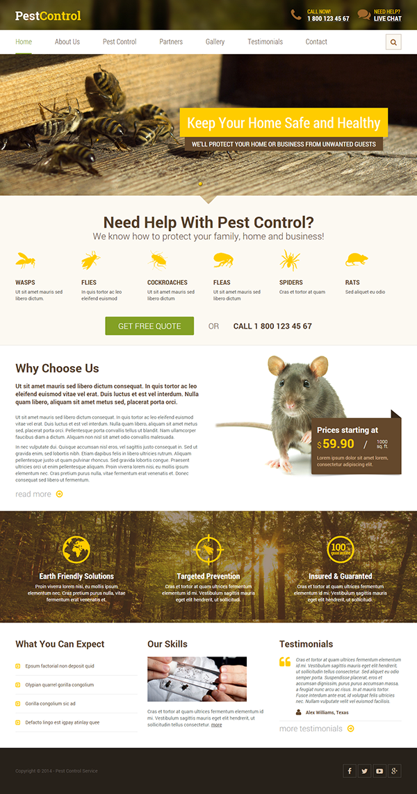 pest control html template on behance. Black Bedroom Furniture Sets. Home Design Ideas