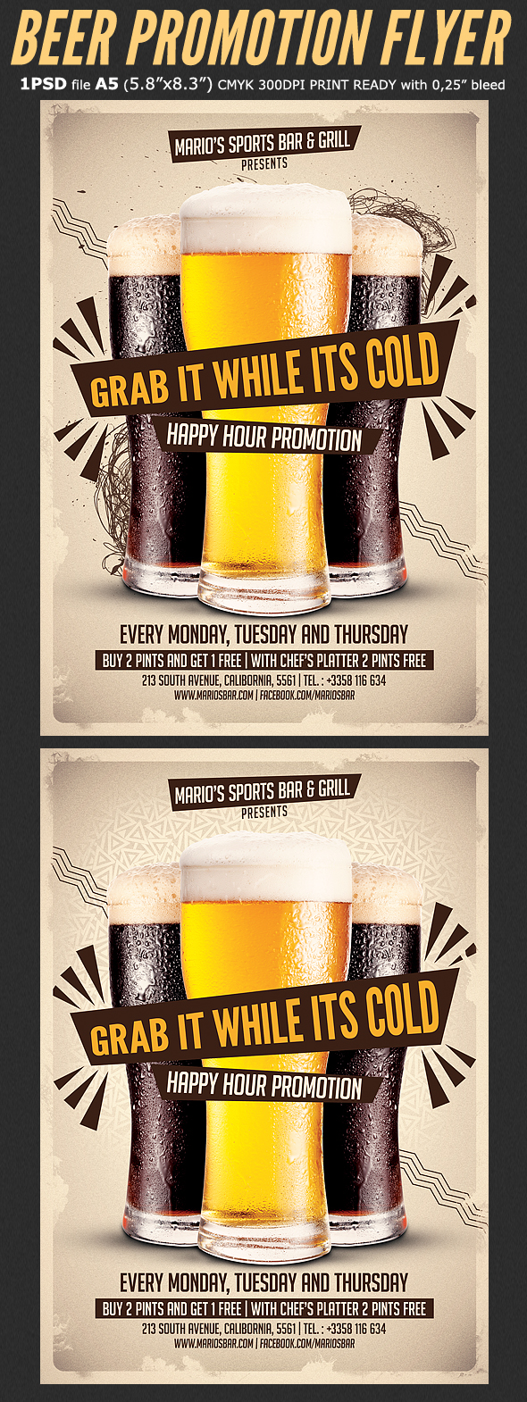 Beer Promotion Happy Hour Flyer Template On Behance - Buy flyer templates