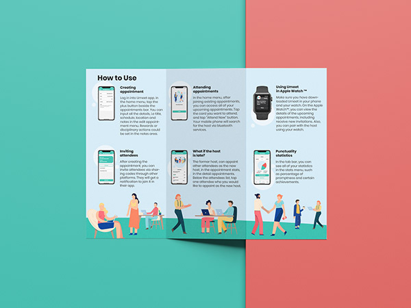 The back side of Umeet's Brochure or flyer design