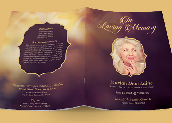 Program Design Template Funeral Program Template