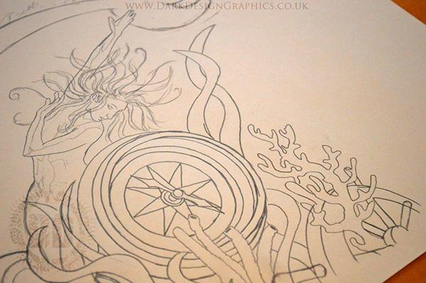 Compass Tattoo Line Drawing : A full sleeve tattoo design on behance