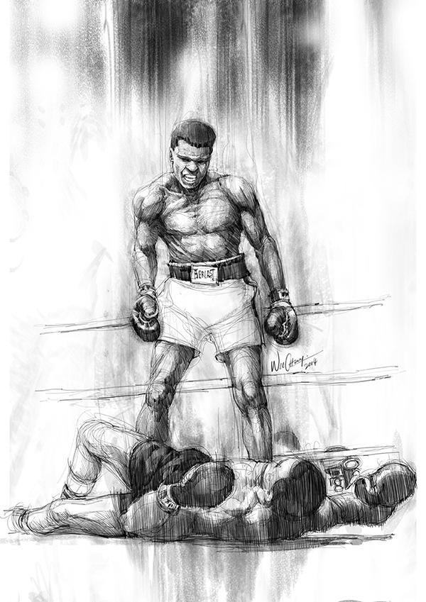них бой боксеров рисунок общественные
