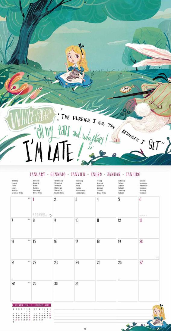 aliceinwonderland lewiscarroll calendar legami lettering