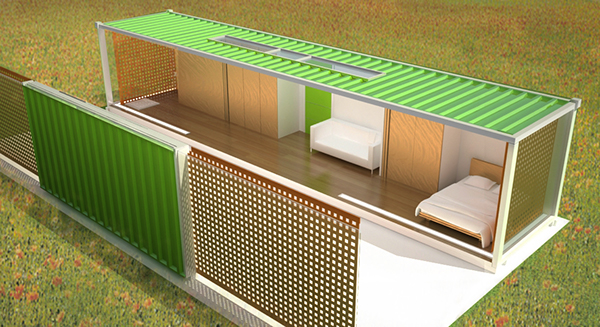 R am nagement d 39 un container en habitation on behance for Agencement container