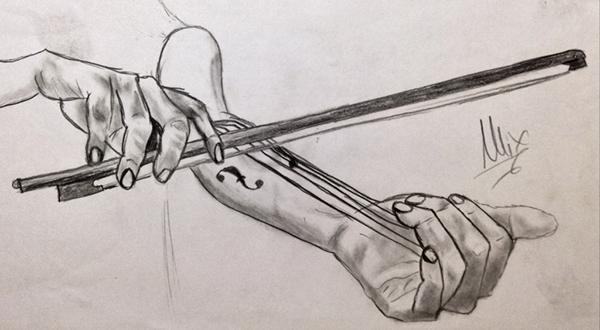 Violin Rhymes/Pencil Sketch on Pantone Canvas Gallery