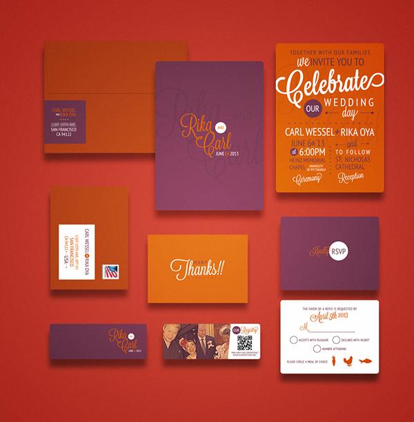 wedding invitation rsvp wedding purple orange