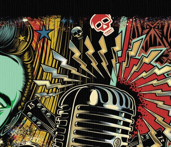 kustom kulture Rockabilly skull guitar microphone hot-rod
