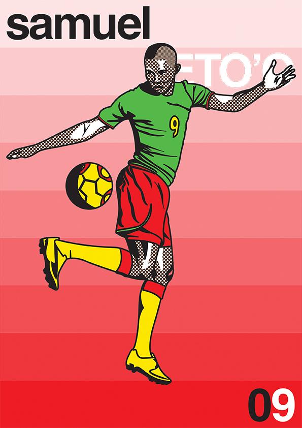 football soccer batistuta batigol falcao Pop Art lichtenstein di stefano fiorentina Real Madrid Eto'o lewandowski weah shearer calcio