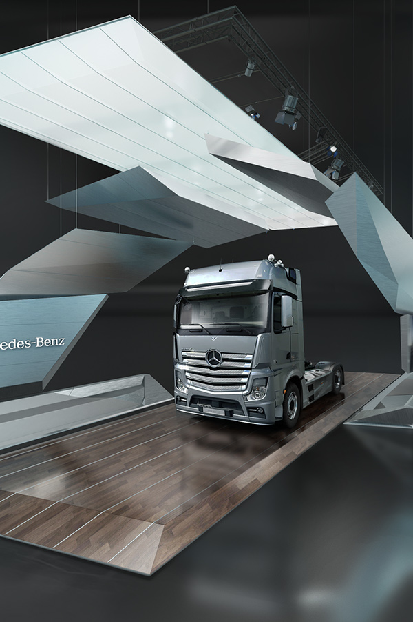 Mercedes benz trucks stand concept on behance for Mercedes benz retail careers
