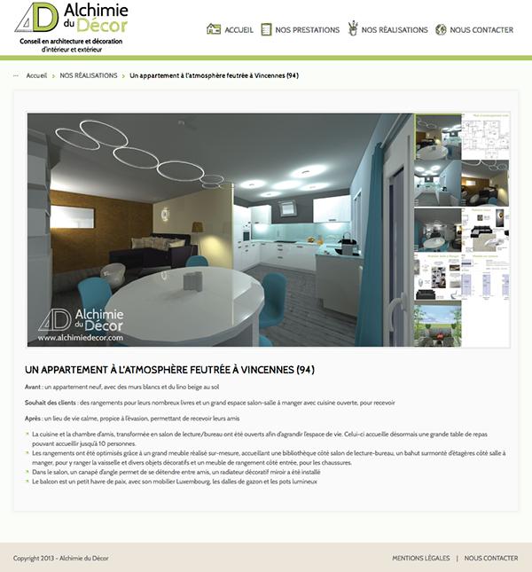 Conception site internet décoration d'intérieur Webdesign integration wordpress HTML css