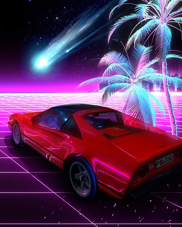 Synthwave T Rex on Wacom Gallery