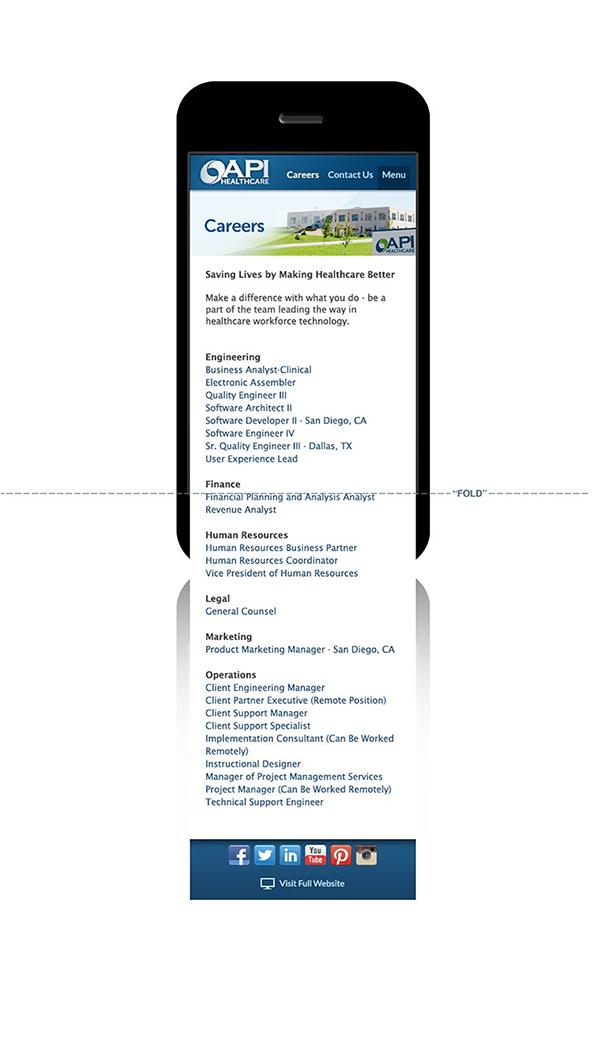 api healthcare mobile corporate website on behance