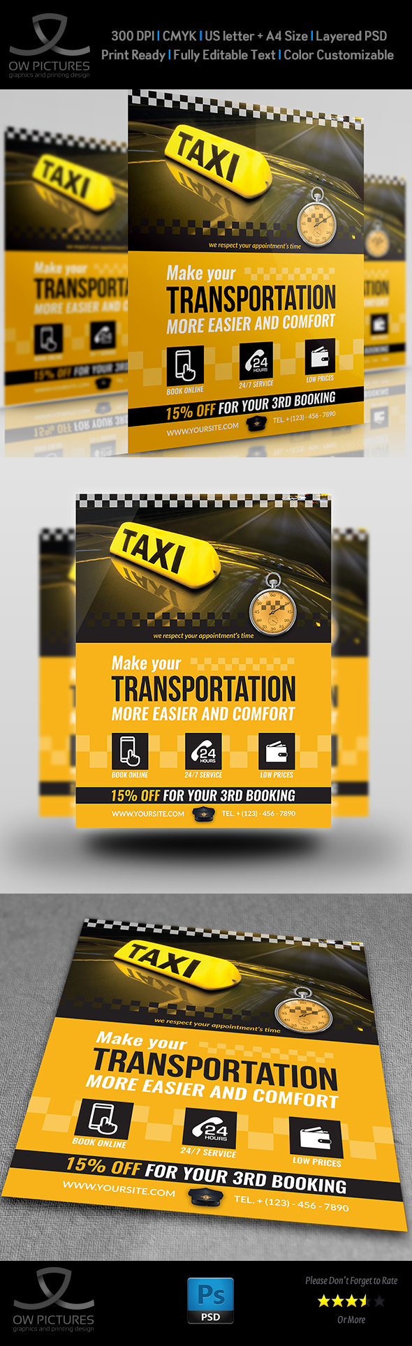 Taxi Service Flyer Template on Behance