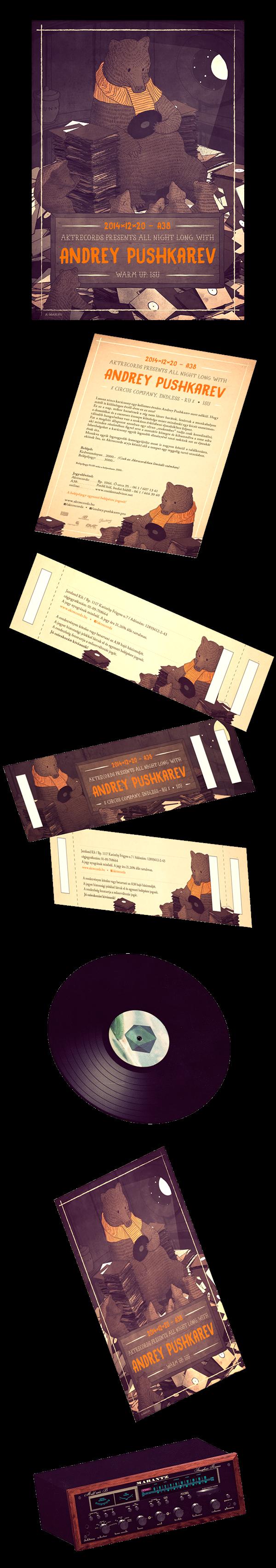 bear vinyl Records LP dj brown natural wood honey animal 3D texture party flyer ticket