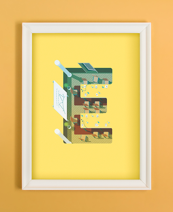 vector Illustrator alphabet letter weather type Low Poly lowpoly 3D
