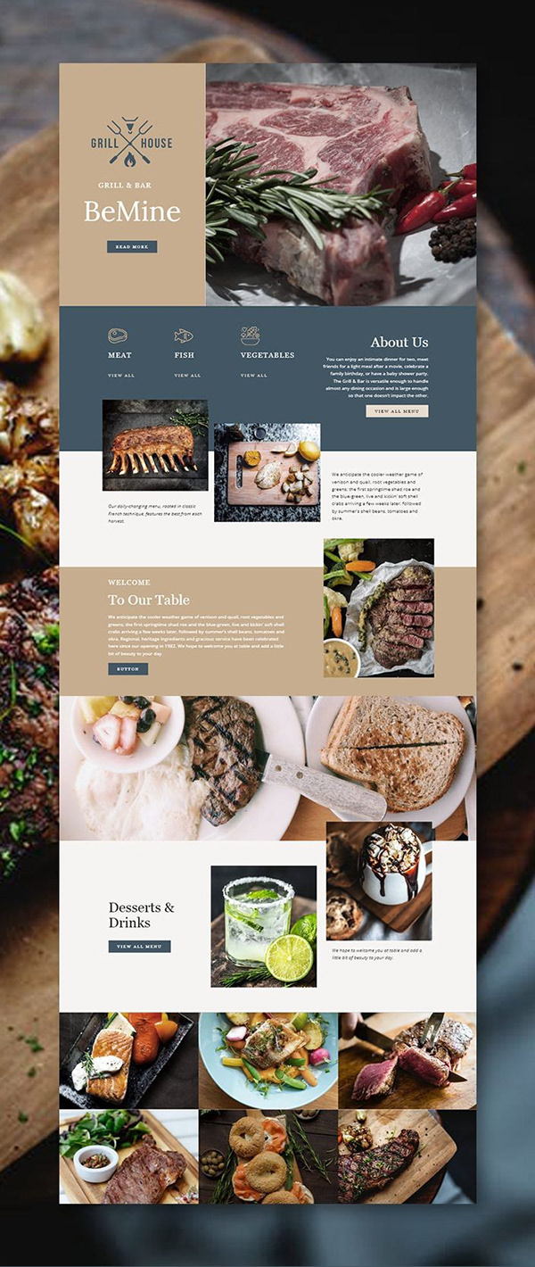 Landing page Grill Bar