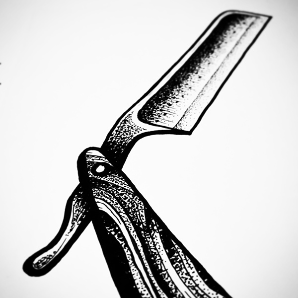 Straight Razor Line Art : Tattoo design razor on behance