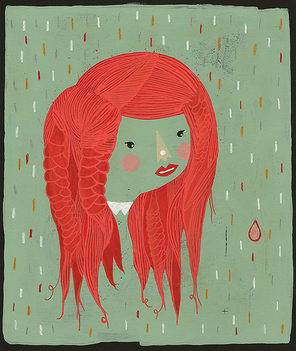 marina milanovic ,redhead,stories about redhead,fine atrs,illustrations,red,woman,girl on bike