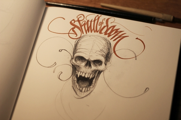 lettering tutorial Technique sketch skull theosone charcoal hand shadowing