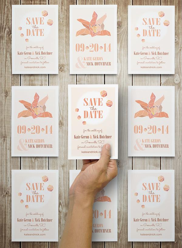 Lilly Flower save the date wedding Invitation postcard geometric orange peach sketch geometric flower Clean Design modern invitation