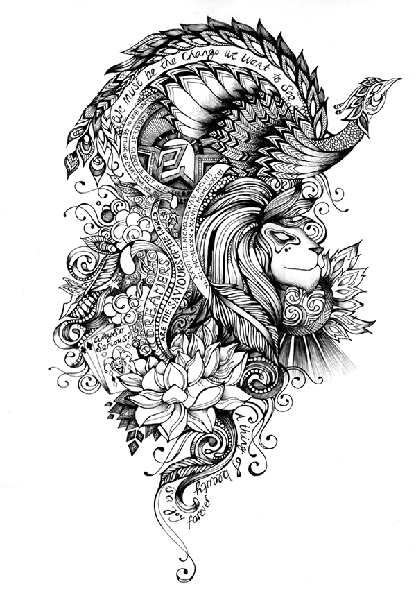 Tattoo artwork on behance for Arm mural tattoos