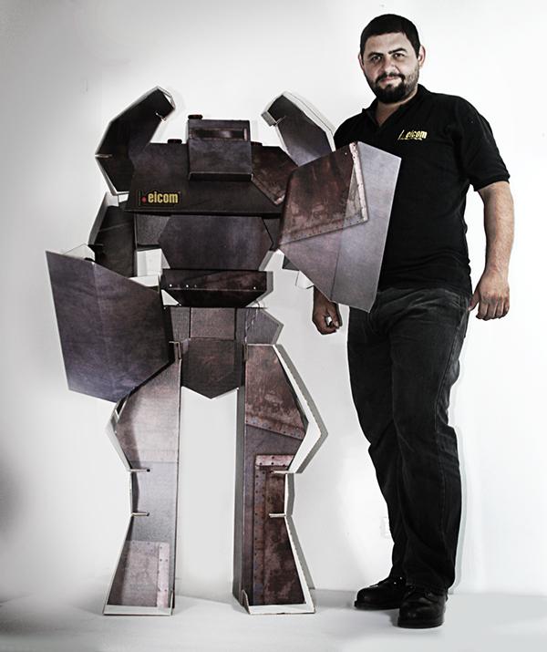 cardboard robot robot de carton on behance. Black Bedroom Furniture Sets. Home Design Ideas