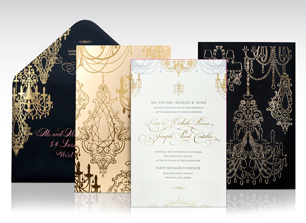 Foil and laser cut chandelier wedding invitations on behance mozeypictures Image collections