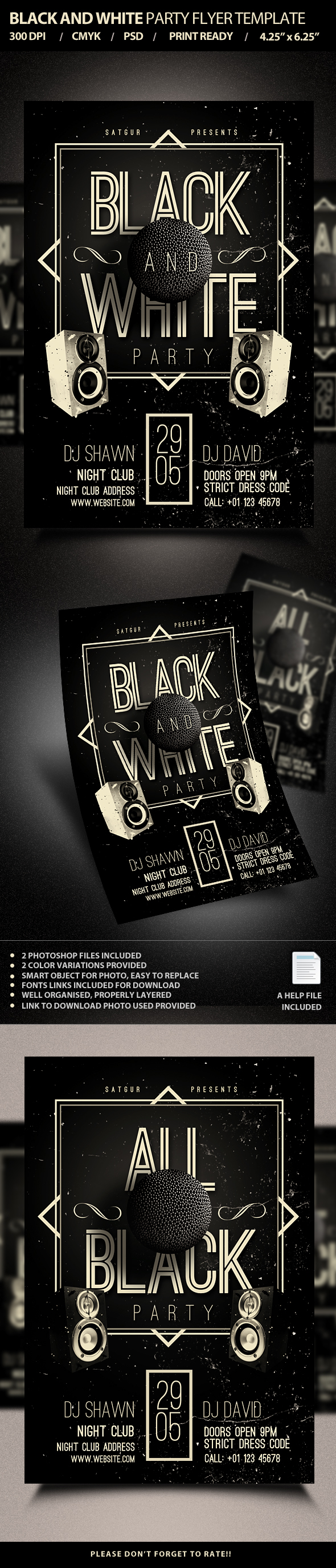 Black and White Party Flyer Template PSD on Behance