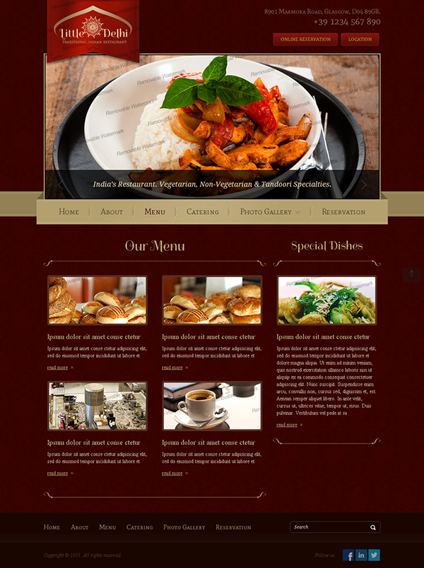 Little delhi indian restaurant bootstrap html template on behance indian restaurant website template pronofoot35fo Choice Image