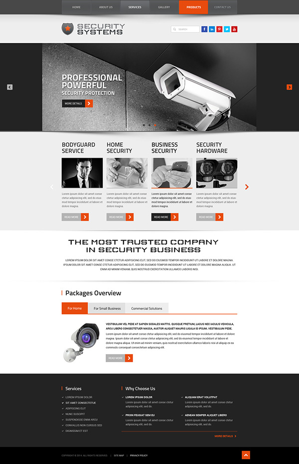 Security Systems Website Template On Behance