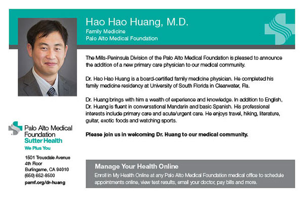 Pamf New Physician Announcement Mailer Postcards On