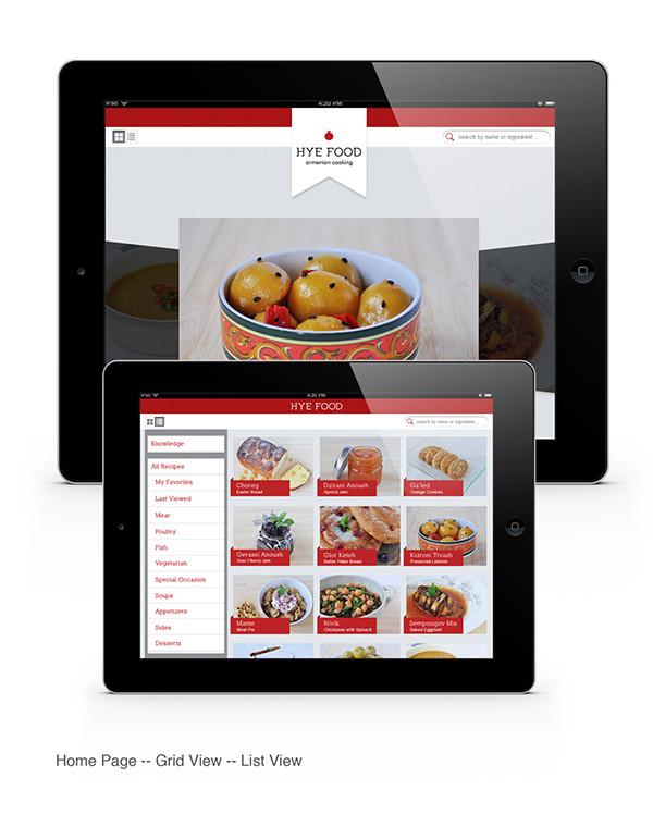 Hye food armenian cooking ipad app on behance for Armenian cuisine cookbook