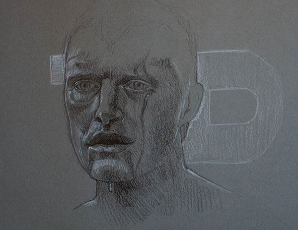 sketches blade runner charcoal acrylics Pastels