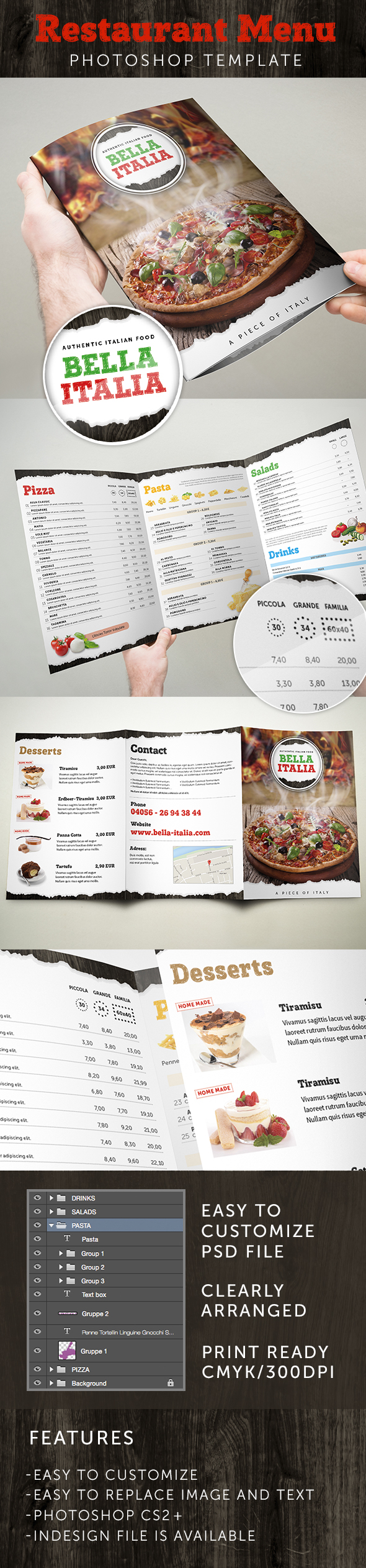 Restaurant Menu Template for InDesign & Photoshop on Behance
