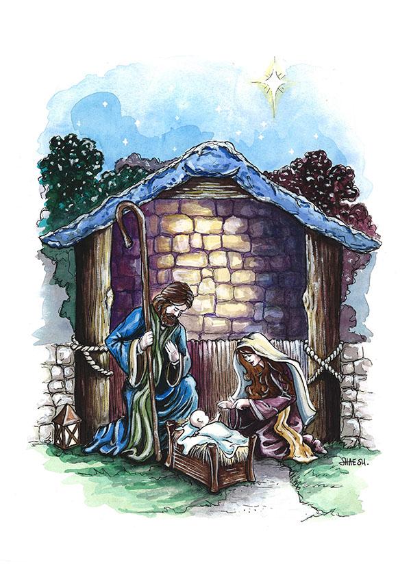 IWU: Nativity Scene; Christmas Card Illustration on Behance