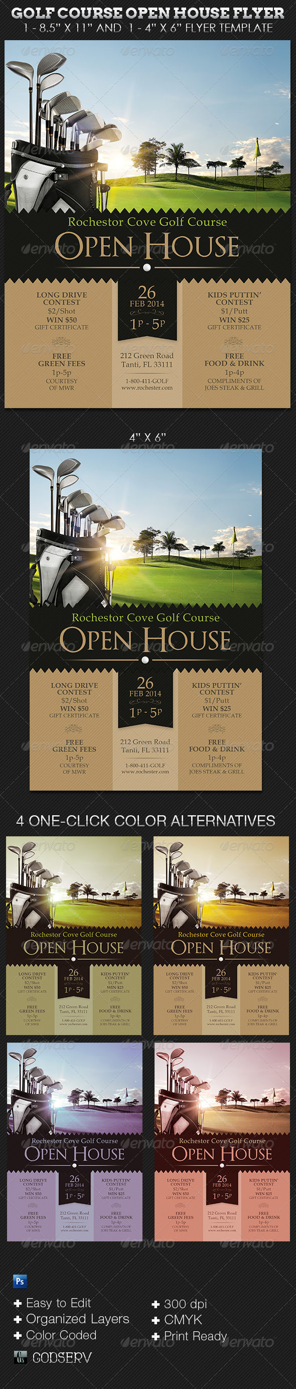Golf course open house flyer templates on behance for Open house brochure template