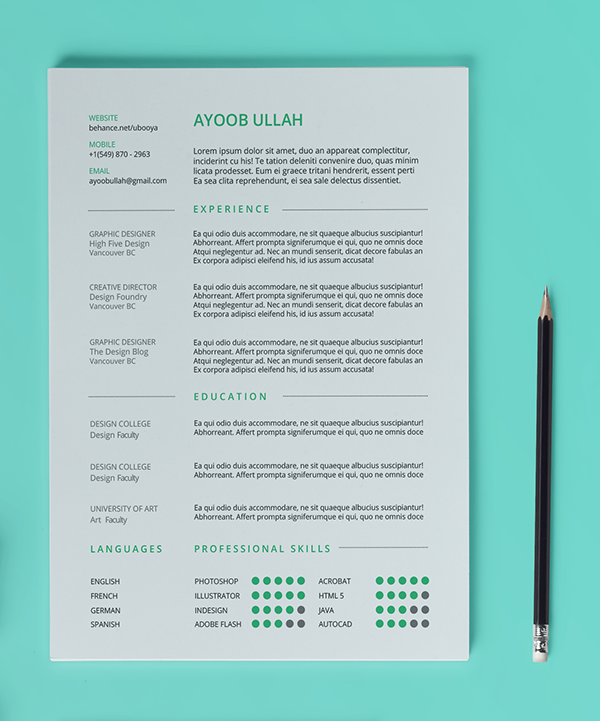 Photo Resume Templates Professional Cv Formats: FREE Resume Template On Pantone Canvas Gallery